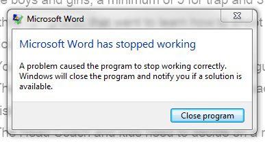 MS Office Word 2013 Most Popular Error Message
