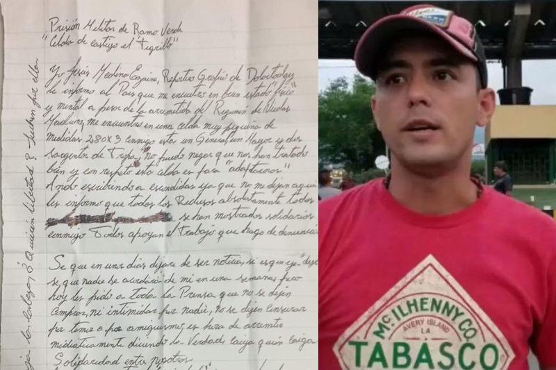 Jesús Medina logró escribir esta carta desde Ramo Verde en la que pide perdón al pueblo