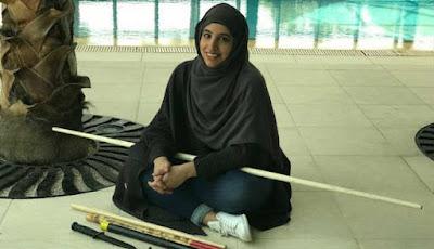 Reem al-Ouda saat istirahat dari latihan