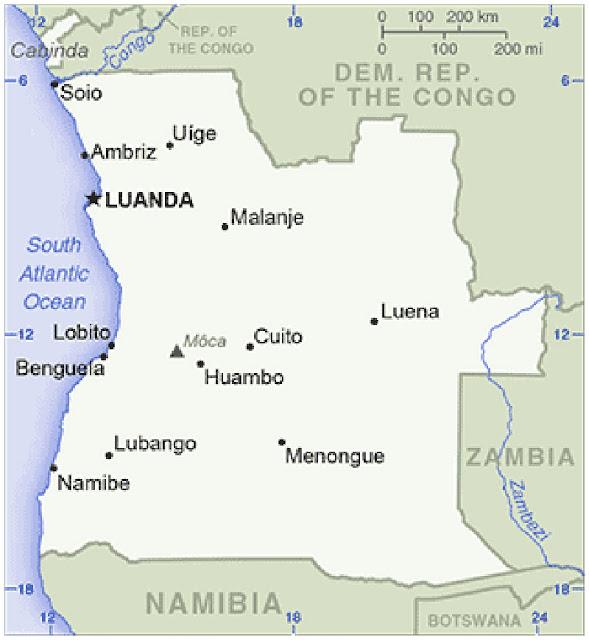 Gambar Peta Sederhana Negara Angola
