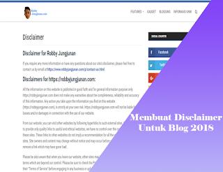 disclaimer untuk blog 2018