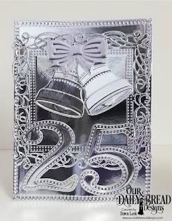 Our Daily Bread Designs Custom Dies: Christmas Bells, Snowflake Sky, Large Numbers, Flourishy Frames