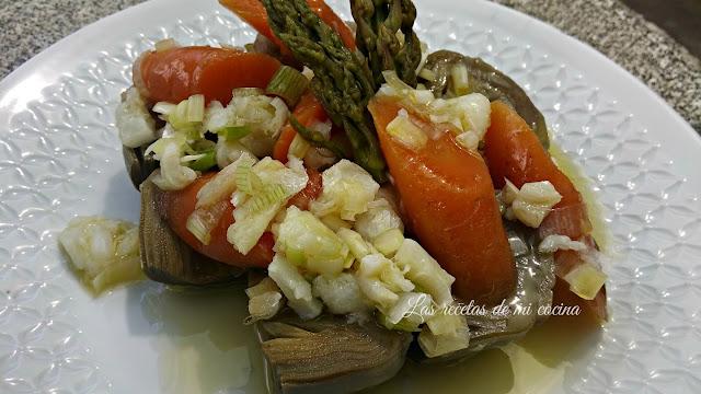 Menestra de verduras y su vinagreta con bacalao