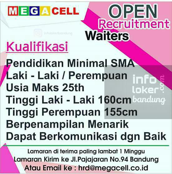 Lowongan Kerja Waiters Mega Cell Bandung Februari 2017
