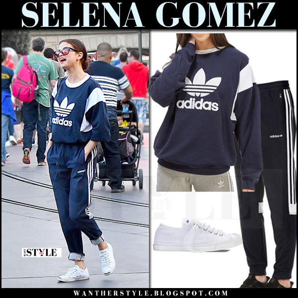 Selena Gomez in blue sweatshirt and blue sweatpants adidas originals trefoil what she wore april 217