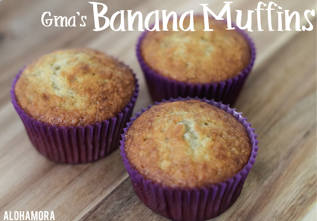 Grandma's Banana Muffins this recips is easy and quick to make, the absolutely tastiest way to use up those ripe bananas, and some say they could pass for banana cupcakes.  Recipe, easy, use overripe, frozen bananas, yummy, simple recipe, Gma Alohamora Open a Book www.alohamoraopenabook.blogspot.com