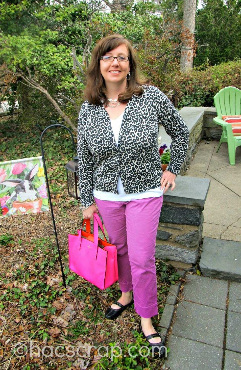 Radiant Orchid Jeans, White T, Leopard Cardigan