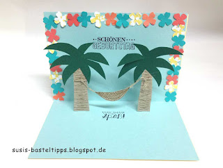 Stampin UP pop-up-Karte mit Palmen