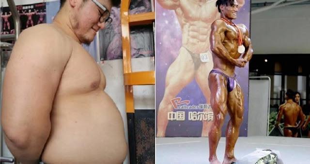 Mahasiswa China Menurunkan Berat Badan Selama 6 Bulan Agar Bisa Ikut Kejuaraan Binaraga