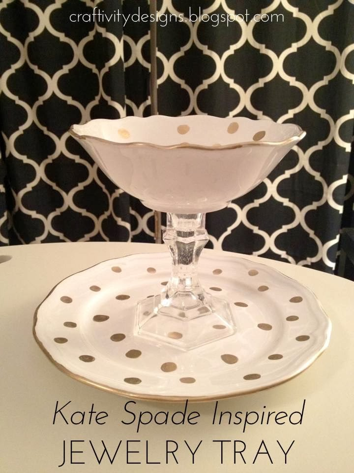 Kate Spade Inspired Jewelry Tray, Kate Spade Knock-Off, DIY Jewelry Tray, Tiered Jewelry Tray by @CraftivityD