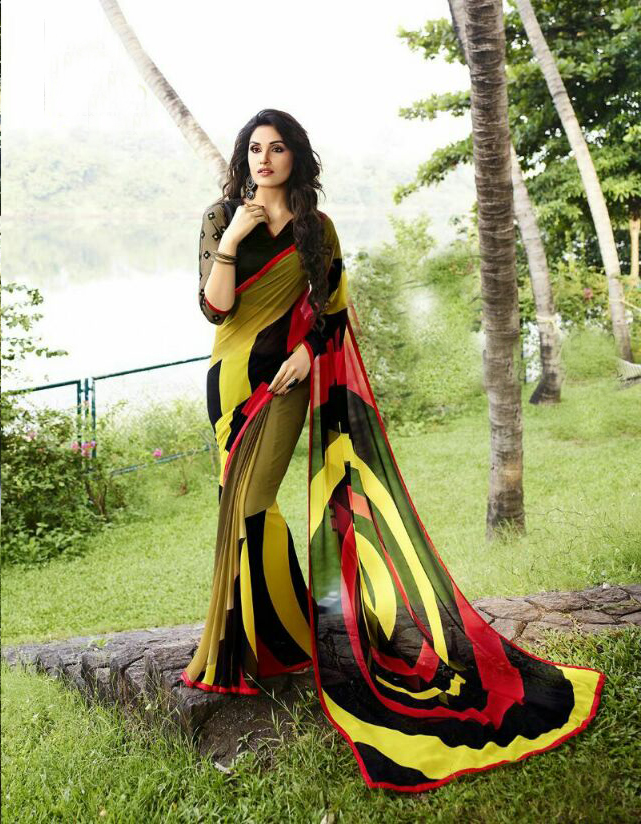 Sanskar 1-Designer Heavy Printed Work With Lace Border Saree