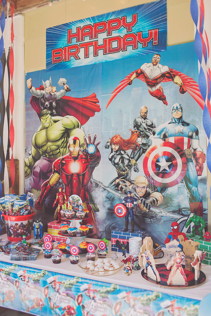 Avengers superhero birthday party table decorations and dessert table