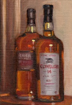 Oil painting of two full bottles of whisky, one legibly marked Clynelish 14.
