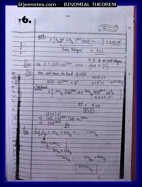 IITJEE Notes on Bimomial Theorem6