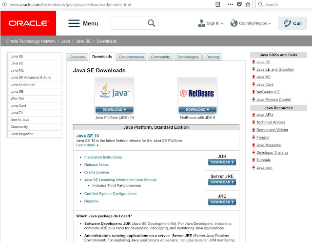 Oracle Java SE Downloads Page