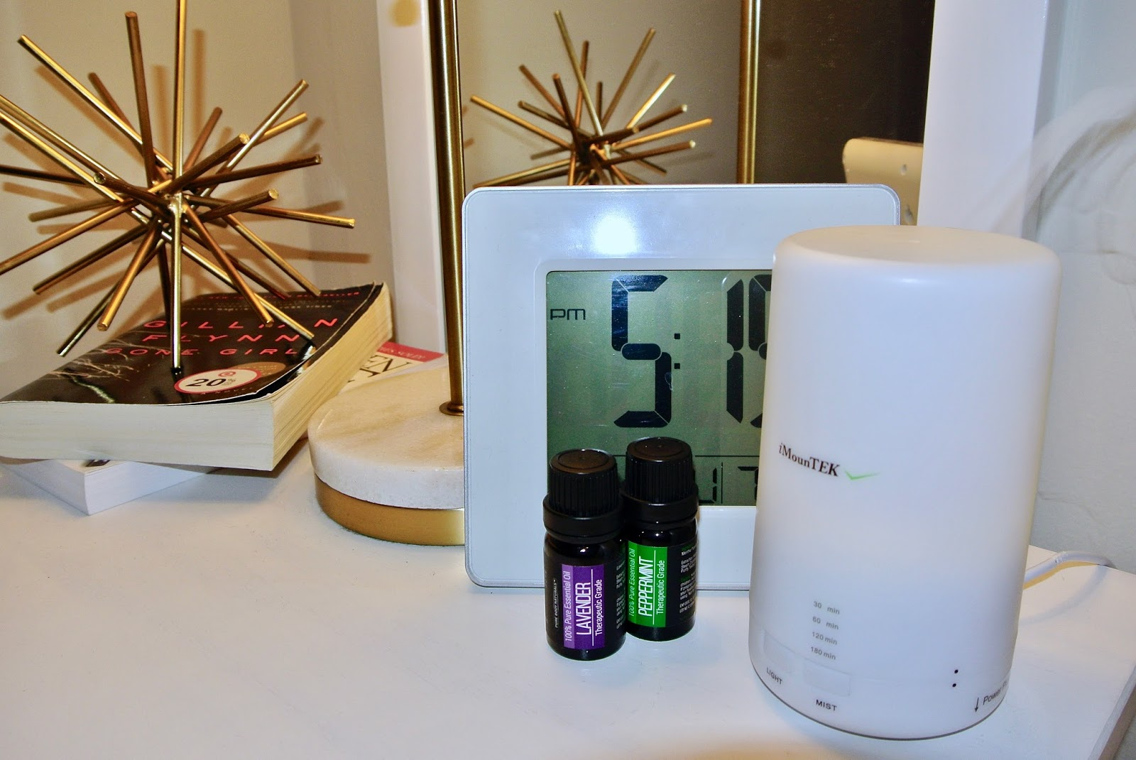 Turn on oil diffuser and relax
