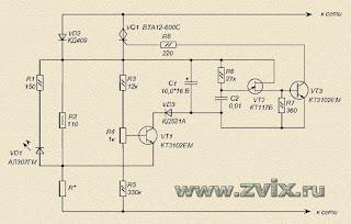 изображение принципиальной схемы терморегулятора для паяльника 20 Вт на симисторе