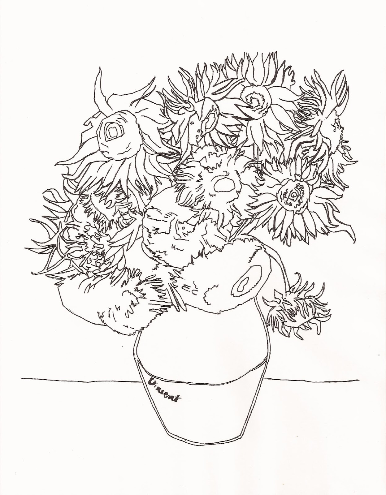 beautiful gogh coloring pages - 28 images - best 15 gogh sunflowers ...
