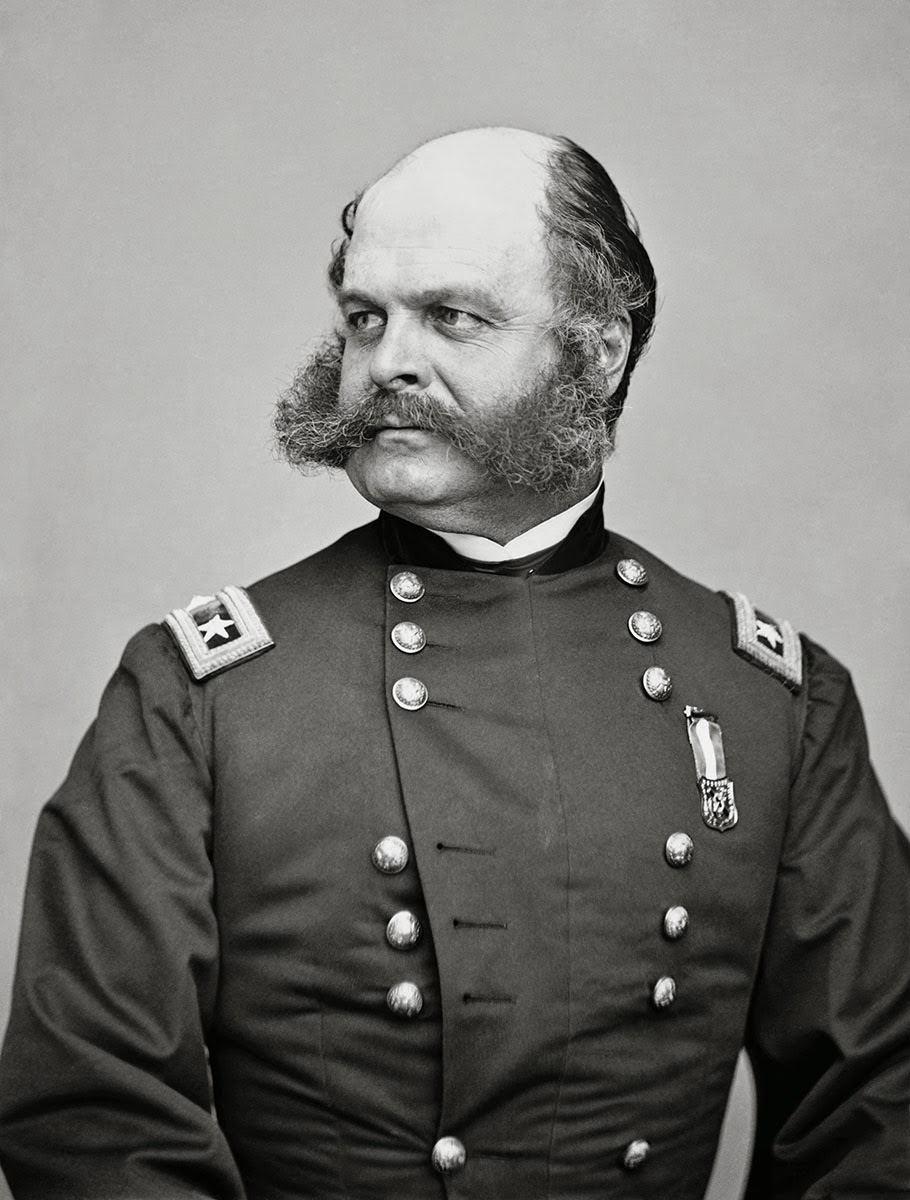 Civil War Major General Amrbose Burnside, whose unusual facial hair led to the coining of the term