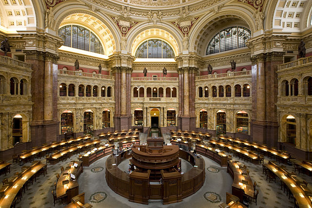 Reading room inside Library of Congress, Washington DC