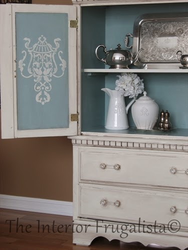 Small Armoire Makeover with stencils on the inside of the doors