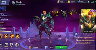 Claude Epic Skin, Mecha Dragon, Mobile Legends