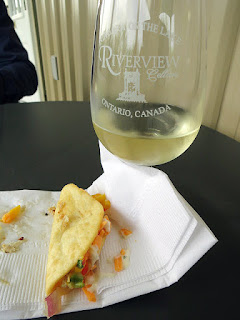 Grilled Chicken Taco topped with Mango Salsa with 2015 Riverview Bianco Riesling Gewürztraminer
