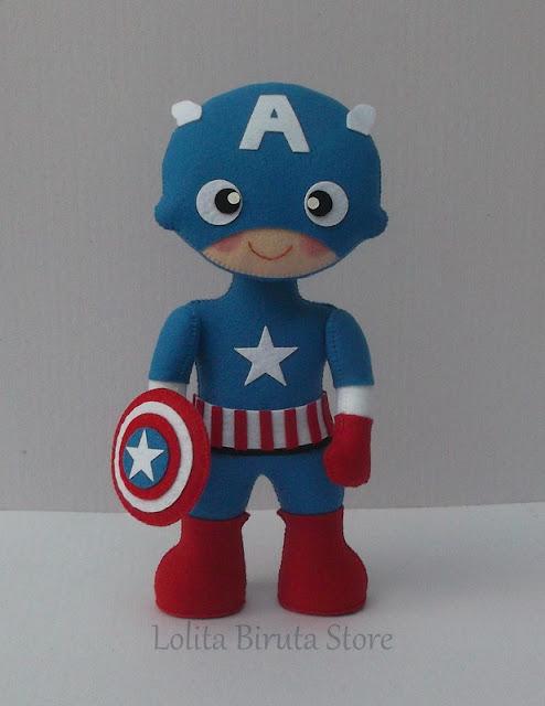 Capitão América em feltro para decoração de festa infantil