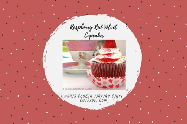 this is how to make a doctored cake mix into a red velvet and raspberry cupcake with whole raspberries on top and cream cheese canned frosting, The cupcakes has a pretty cup in the background with two people on it and pink