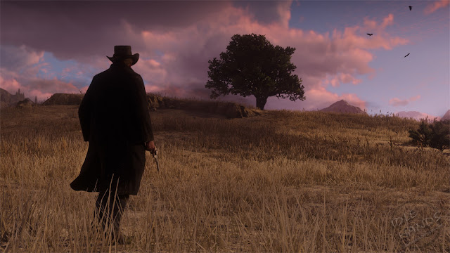 Rockstar Games Red Dead Redemption 2 Gameplay Trailer Stills Looking art the plains at sunset