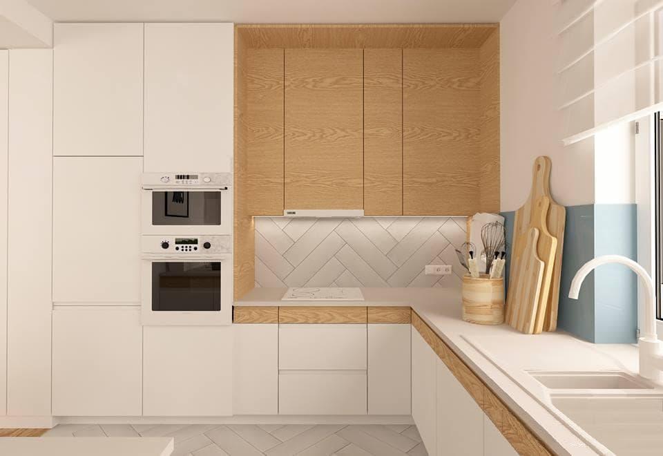 30 ideas de cocinas en blanco y madera i cocinas con for Colores de granito para cocinas blancas