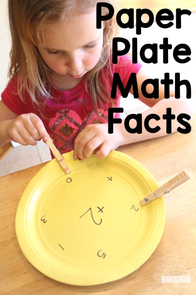 Paper Plate Math Facts - this is a fun hands on math activity perfect for math center, homeschool, and to improve math fluency for kindergarten, 1st grade, and 2nd grade