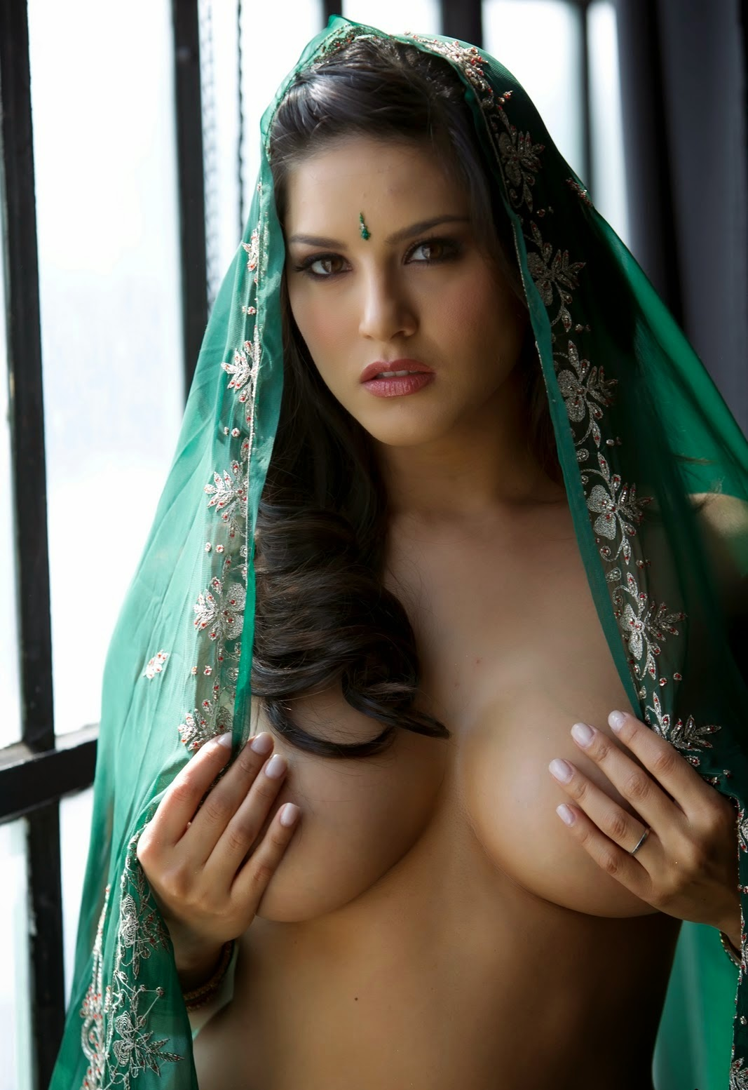 hot sunny leone in green saree | hot wallpapers