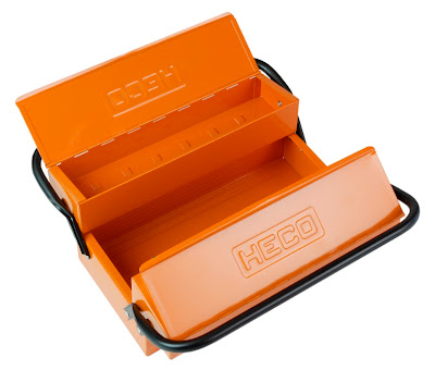 metal tool box, orange, interior view