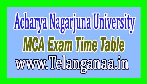 Acharya Nagarjuna University MCA 1st Sem Regular Dec 2016 Exam Time Table