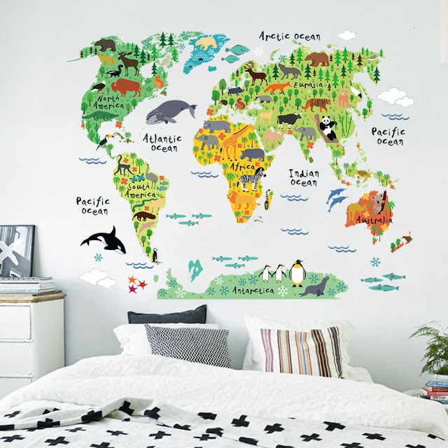 World Map Wall Mural Kids Children's Room