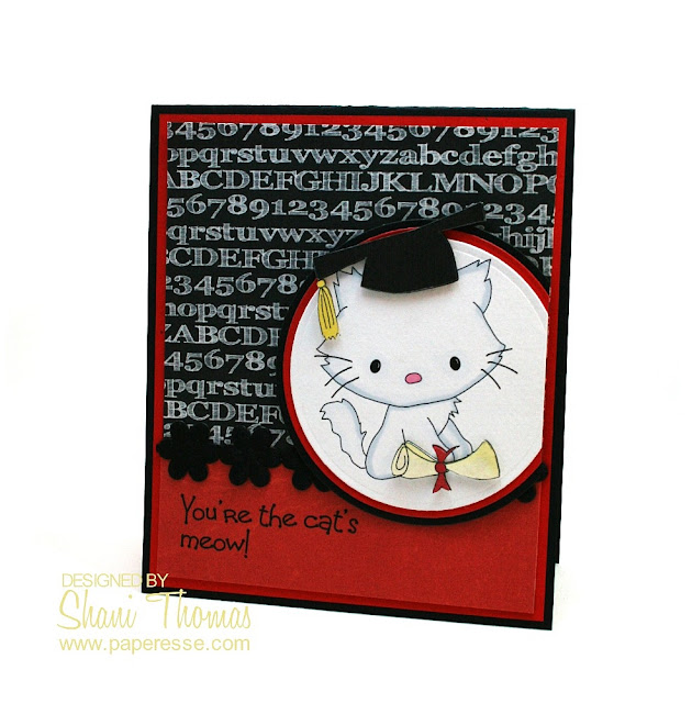 Cat lover graduation card with $ Graphics Depot digital image by Paperesse.