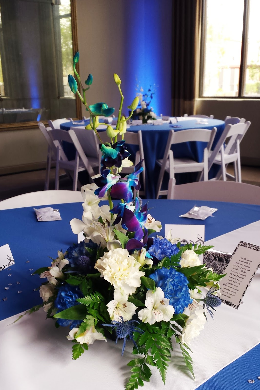Royal Blue And White Carnations