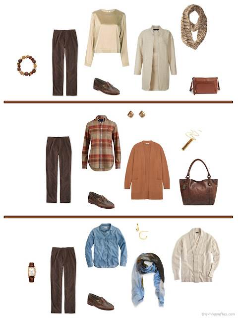 three ways to style brown corduroy pants in an autumn travel capsule wardrobe