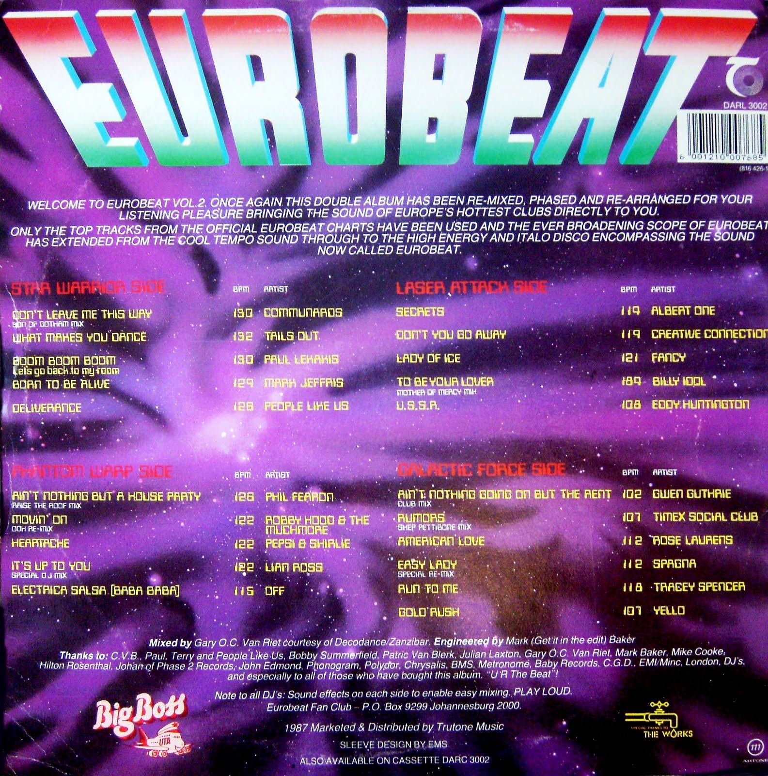 Retro disco hi nrg eurobeat volume 2 90 minute non for Classic 90s house vol 2