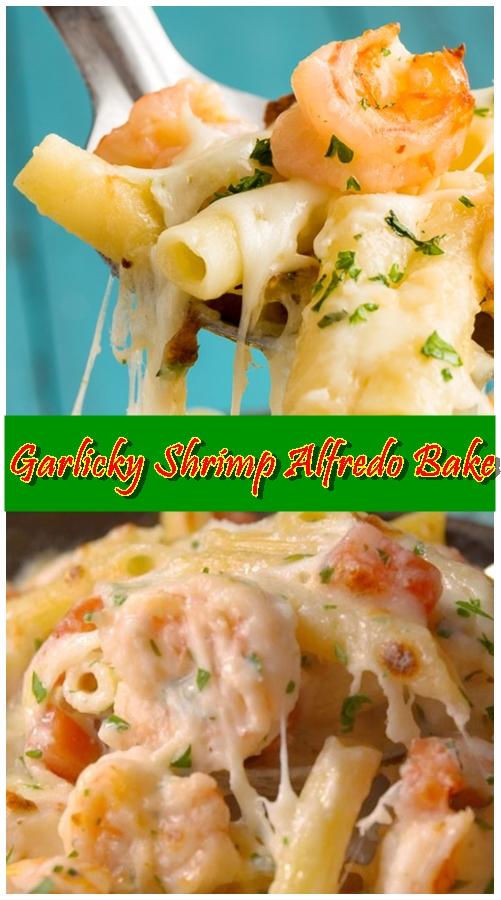 Garlicky Shrimp Alfredo Bake