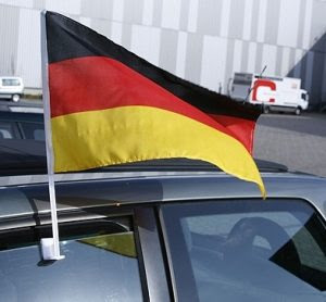 German flag on car