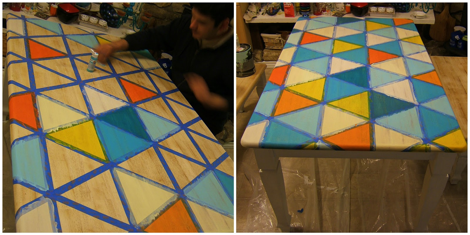 how to diy triangle pattern kitchen painting kitchen table We rubbed some paint in the triangles with our hands then wiped the excess off with paper towels Some of them needed a second coat you be the judge with