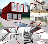 Yan yana ve üst üste konulmuş konteynerlerden yapılmış bir evin iç ve dış görüntüsü