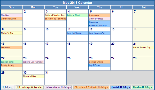 Calendar, May 2016 Printable Calendar, May 2016 Calendar Printable ...