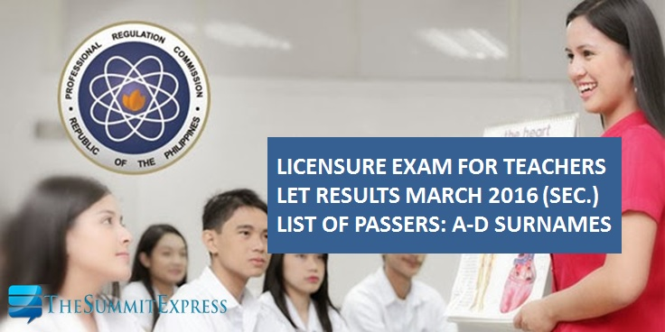 A-D Passers Secondary LET Results March 2016