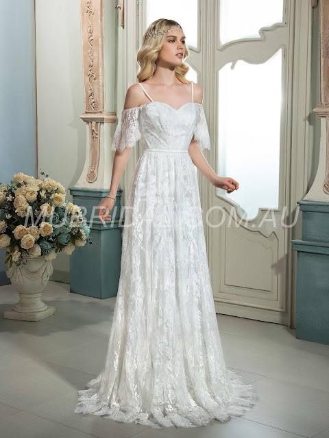 Spaghetti Straps Lace A-line Beach Spring All Sizes Sweep/Brush Floor-Length Wedding Dress (130647495) http://www.mubridal.com.au/product/130647495.html