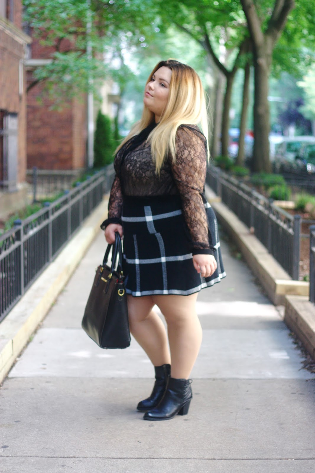 plaid skirt, plus size fashion, long sleeve lace blouse with neck tie, neck tie blouse, plus size blogger, natalie in the city, natalie craig, chicago, chicago blogger, midwest blogger, plus size fall fashion, meijer ankle boots, ankle boots for plus size women, lace top, natalieinthecity.com