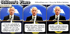 stilton's place, stilton, political, humor, conservative, cartoons, jokes, hope n' change, california, jerry brown, hiv, aids, felony