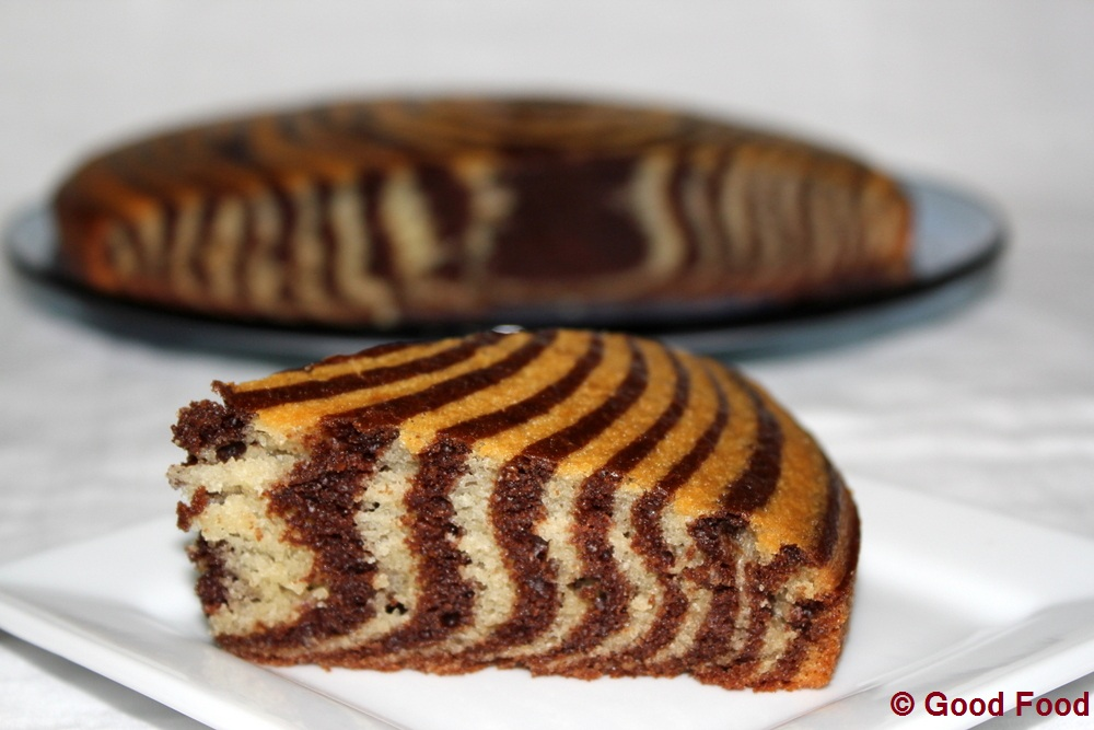 Eggless Zebra Cake Recipe